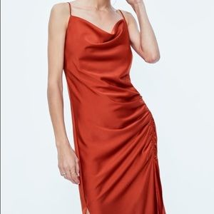 Rouching/ cowl neck elevated slick dress